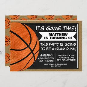 Basketball Birthday Party Invitation Fans