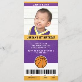 Basketball Birthday Party Invite (Purple & Gold)