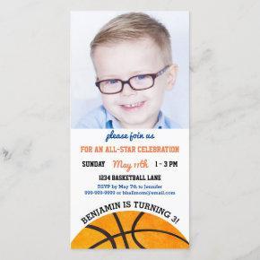Basketball Birthday Party Sports Photo Invitations