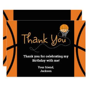 Basketball Birthday Party Typography Thank You Invitation