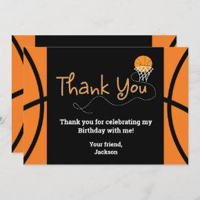 Basketball Birthday Party Typography Thank You Invitation