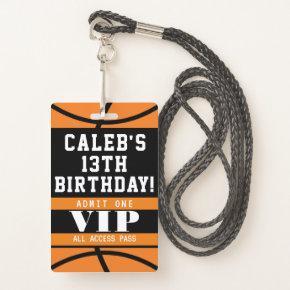 Basketball Birthday Party VIP Pass Badge