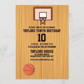 Basketball Court Sports Custom Birthday Party Invitation
