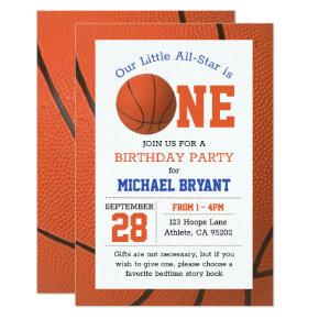 Basketball First Birthday Invitation