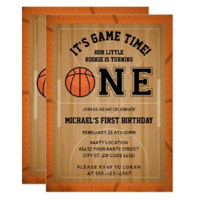 Basketball First Birthday Party Invitation