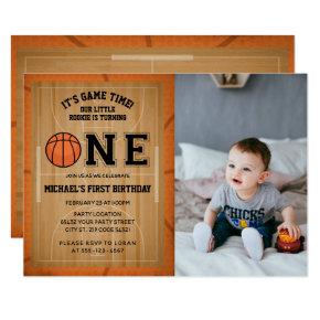 Basketball First Birthday Photo Invitation