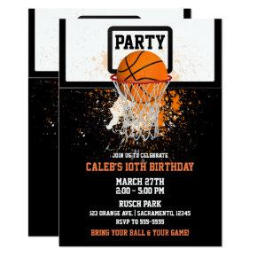 Basketball & Hoop Sports Birthday Party Invitation