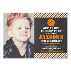 Basketball hoops birthday party boy photo invitation