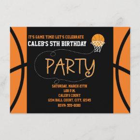 BASKETBALL PARTY Typography Birthday Invitation