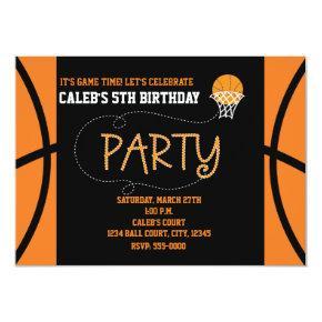 BASKETBALL PARTY Typography Birthday Invitations