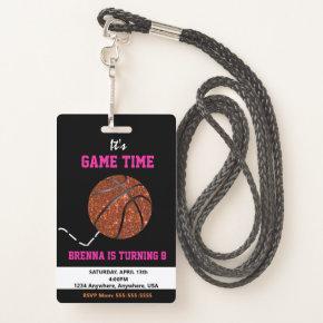 Basketball Pass Party Pass, VIP, Invitation, girl Badge
