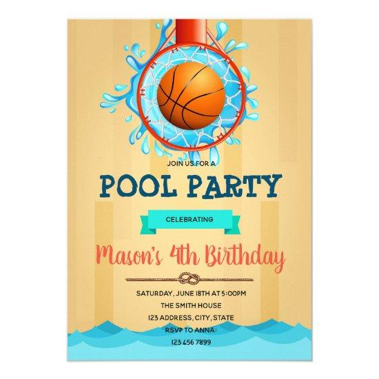 Basketball Pool Party invitation