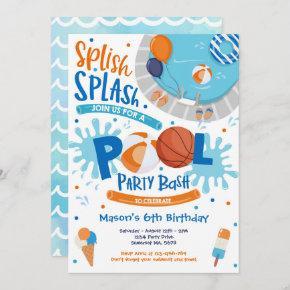Basketball Pool Party Splish Splash Pool Birthday Invitation