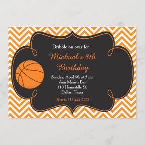 Basketball Sports Orange Birthday Invitation