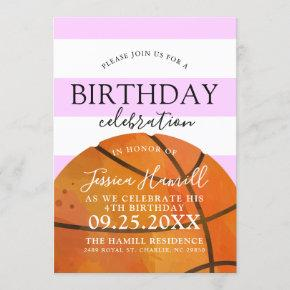Basketball Themed Birthday Party Pink Invite