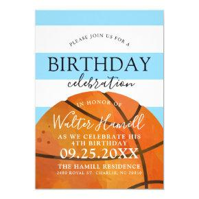 Basketball Themed Birthday Party Teal Invite