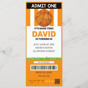 Basketball Ticket Birthday Boy Sport Party Invitation