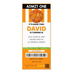 Basketball Ticket Birthday Boy Sport Party Invitation