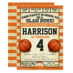 Basketball Ticket Birthday Party Invitation Invite