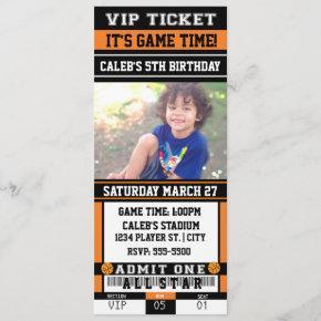 BASKETBALL VIP TICKET PHOTO Party Invitation