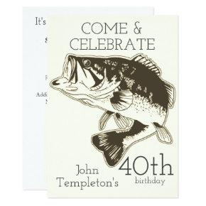 Bass Fishing Adult Men's Birthday Sports Outdoors Invitation