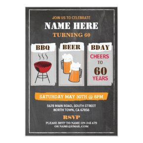 BBQ Beers Birthday Chalk Mens Party Invitations