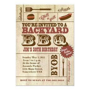 BBQ Birthday Invitations