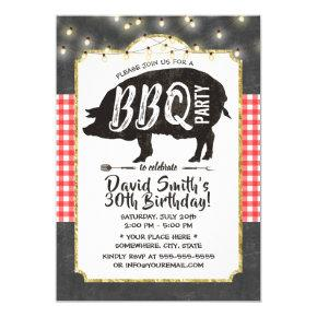 BBQ Pig Roast Birthday Party Vintage Chalkboard Invitations