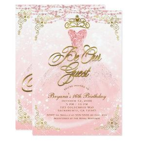 Be Our Guest Princess Pink & Gold Sweet 16 Party Invitations