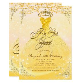 Be Our Guest Princess Yellow & Gold Sweet 16 Party Invitation