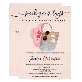 Beach bag birthday silver pink glitter weekend invitation