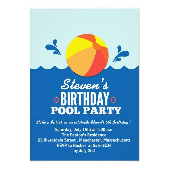 Beach Ball Theme Birthday Party Invitations Candied Clouds