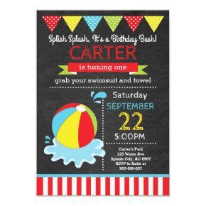 Beach Ball Birthday Invitation