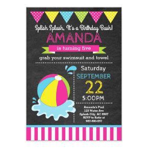 Beach Ball Birthday Invitations