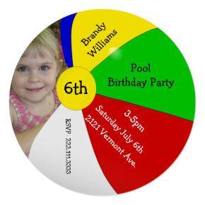 Beach Ball Photo Birthday Party Invitations