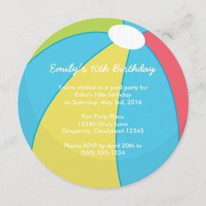 Beach Ball Pool Party Invitation