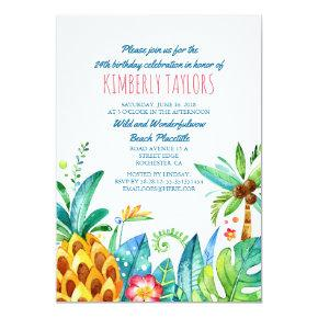 Beach Birthday Party Tropical Pineapple Palms Invitations
