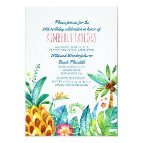 Beach Birthday Party Tropical Pineapple Palms Invitation