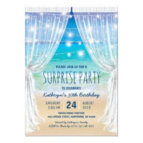 Beach Destination Surprise Birthday Party Invitation