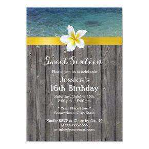 Beach & Frangipani Flower Wood Background Sweet 16 Invitations