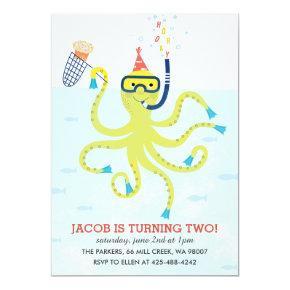 Beach Octopus Kid's birthday party Invitation