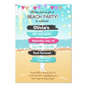 Beach Party Beach birthday Beach Invitations