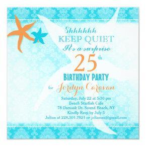 Beach Starfish Surprise Birthday Party Invitation