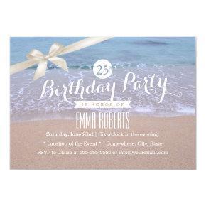 Beach Theme Classy Ivory Ribbon Birthday Party Invitations