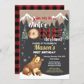 Bear first birthday winter onederland red flannel invitation