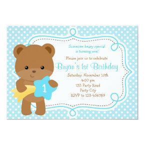 Bear Invitations (1st Birthday / Baby Shower) - Boy
