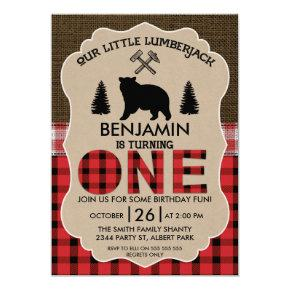Bear Lumberjack Burlap 1st Birthday Invitations
