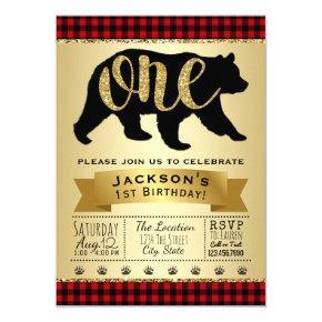 Bear Lumberjack First Birthday Party Invitations
