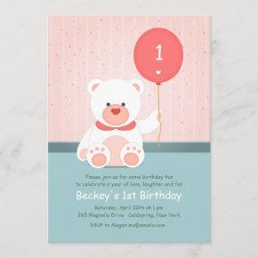 Bear With Ballon Invitation