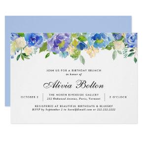 Beautiful Birthday Blue Floral Watercolor Invitation